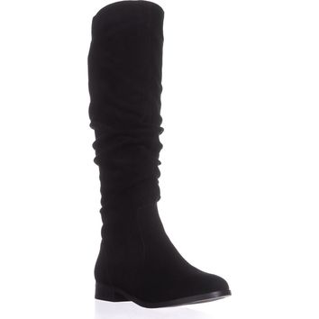 Steve Madden Beacon Tall Slouch Boots, Black Suede, 7.5 US