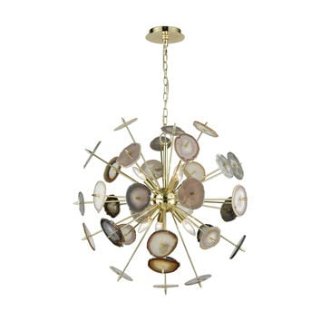 Galileo Chandelier Bright Gold,Natural Agate