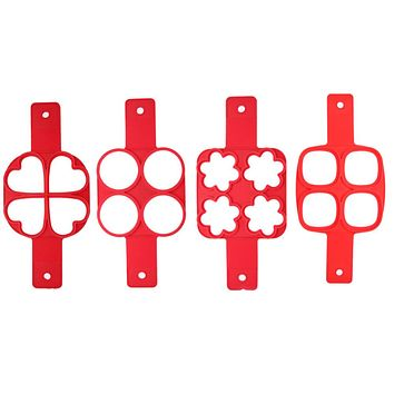 4 Holes Silicone Pancake Mold Nonstick Frying Egg Mold DIY Square Heart Circle Flower Egg Ring Kitchen Tools Red