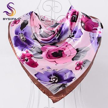 [BYSIFA] Ladies Sweet Pink Purple Square Scarves Autumn Winter Satin Scarves Muslim Headscarves 90*90cm Crepe Satin Silk Scarf