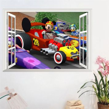Nursery anime wall decals Mickey mouse Donald Duck Racing car 3d false window PVC stickers for kids rooms adesivo wallpaper