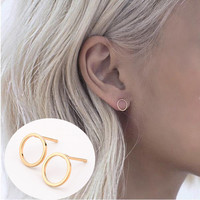 2015 2 Pair Summer Style New Fashion Famous Gold Silver Black Round Circle Ear Stud Earrings For Women Fine jewelry