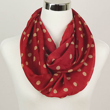 Red Polkadot Scarf Women's Accessories Red Scarf Red Polkadot infinity Scarf Polka dot Scarves Fashion Scarf chiffon Sheer lightweight scarf