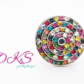Confetti, Swarovski Statement Ring, Round, Adjustable, multi color,Large, Popular, Antique silver,  DKSJewelrydesigns