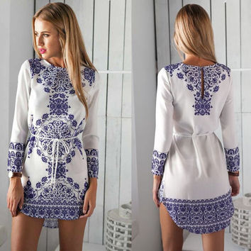 2016 New Casual Tunic Women Summer Style Cute Mini Dresses Ladies White Long Sleeve Print Short Dress