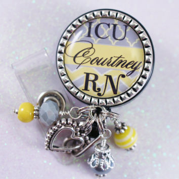 ICU Rn, Nurse Badge Reel, Badge Reel, Nurse RN Badge Reel, Personalized Nurse Badge, Personalized RN Badge, Personalized Badge, Badge Reel