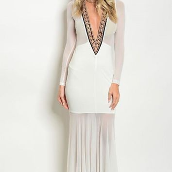 OFF WHITE WITH GOLD STUDS DRESS
