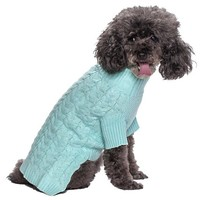 """Blueberry Pet Pack of 1 Clothes for Dogs,  Back Length 12"""",  Classic Cable Knit Dog Sweater in Pastel Blue"""