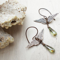 Antiqued silver wings & czech glass drop earrings, mossy blue green jewelry, oxidized brass ear wires, wire wrapped stamping