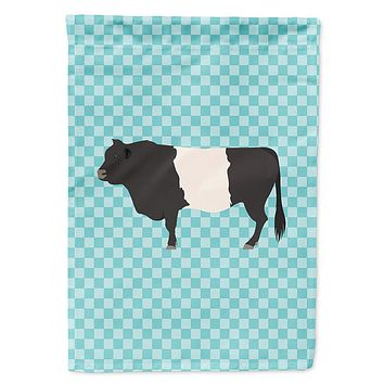 Belted Galloway Cow Blue Check Flag Garden Size