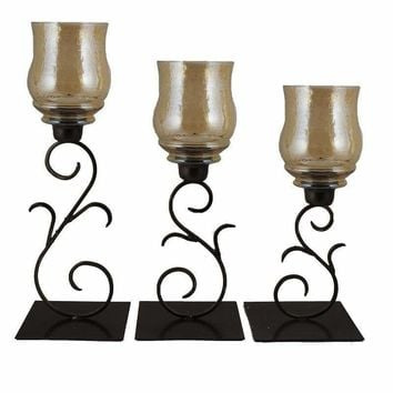 Solemn 3pc Glass & Metal Candle Holders