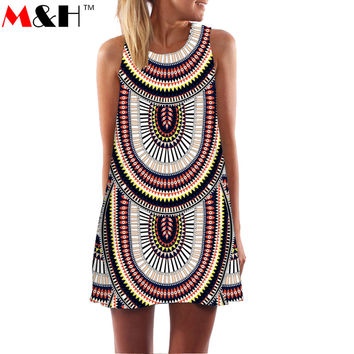2016 Summer 3D Print Vintage Dress Hippie Women Beach Dress Dashiki Loose Boho Plus Size Women Clothing Jurk Sundresses Vestidos