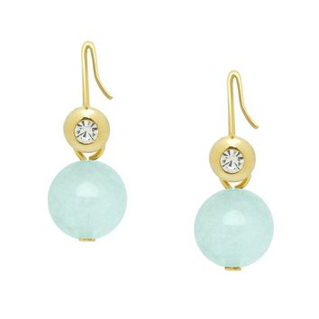 Modern Look Gemstone Ball Drops in Matte Gold - Pick Your Stone