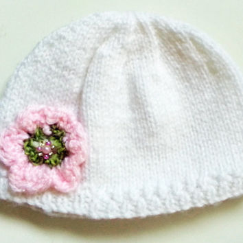 White Baby Hat // Flower & Beads