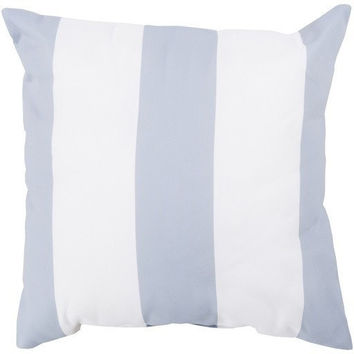 Beach Gray Striped Outdoor Throw Pillow