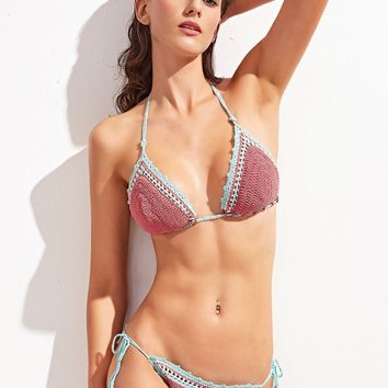 Pink Crocheted  Two-Piece Bikini Swimsuit