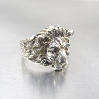 Sterling Silver Lion Head Ring, Figural Sculptural Lion Head Unisex Men Women Jewelry, August Birthday Leo The Lion Zodiac Astrology, Size 9