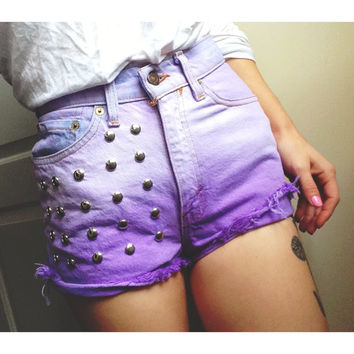 Pastel Princess Purple High Waisted Levis Cutoffs Vintage Small/3 (Studded/Dyed)