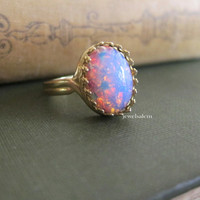 Fire Opal Ring Gift Ombre Pink Blue Lilac Pastel Gold Ring Silver Ring Rustic Statement Modern Friendship Sister BFF Best Friends