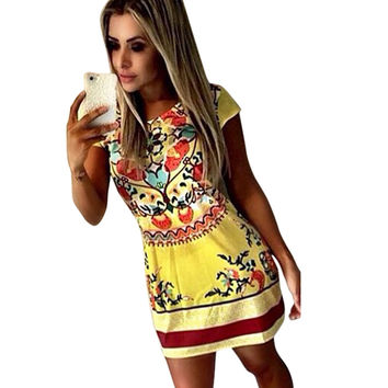 New Summer Vestidos Ethnic Bohemian Style Yellow Print Bodycon Sundress Sleeveless O Neck Dress for Female Hot Beach Costume