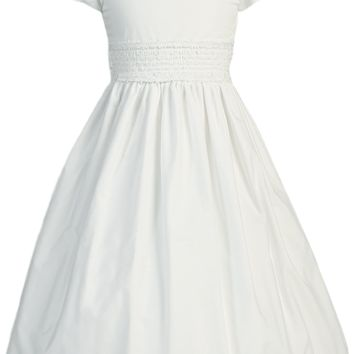 White Cotton Girls Smocked Communion Dress w. Short Sleeves 7-12