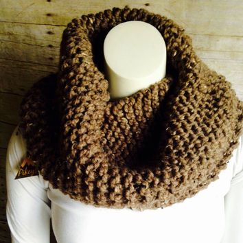 Oversized Hand Knit Cowl, Highland Cowl in Taupe Tweed, Chunky Knit Circle Scarf, Rustic Cowl, Scottish Cosplay Knitwear
