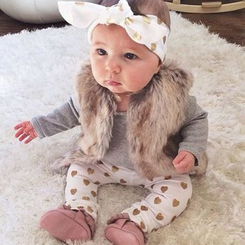 2017 New baby girl clothes baby clothing set s newborn clothes Long sleeve Fashion T shirt+pants+Headband 3pcs infant clothing