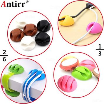 Multipurpose phone Cable Bobbin Winder Earphone Ties Organizer USB Charger Wire Cord Desk Fixer Holder PC Data line Tidy clamp