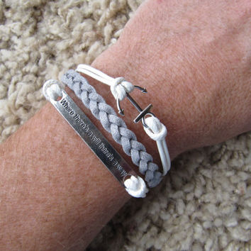 Where there's a will there's a way Affirmation Charm and Anchor Metallic Silver and White Friendship Bracelet
