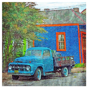 New Orleans colorful house old blue truck 10x10 16x16 - Bywater Blues - Korpita