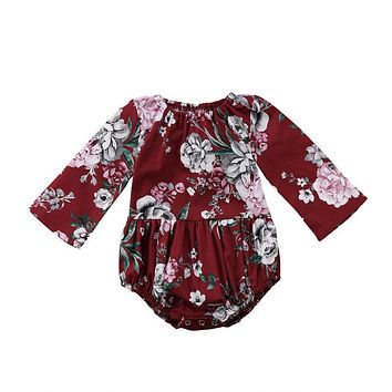 Adorable Baby Kids Girls Cotton Floral Printed Long Sleeve Jumpsuit Romper Clothes Baby Clothing