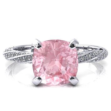 Elysia Cushion Pink Sapphire 4 Prong 3/4 Eternity Diamond Accent Ring