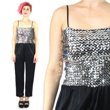 70s 80s Sequin Jumpsuit Disco Black Silver Sequin Tube Top Strappy Black Genie Harem Pants Stretch Party Romper Formal Prom Onesuit (XS/S)