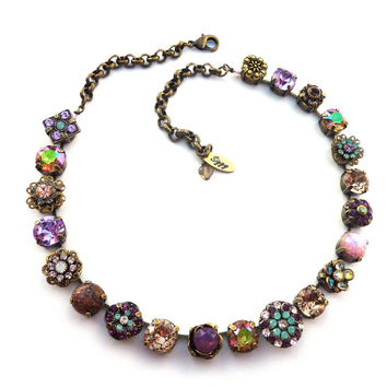 SERENDIPITY Victorian style Swarovski crystal necklace, neutral colors, ornate flowers, purple and opals, OOAK Siggy bling