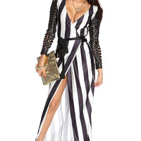 White Black Perforated Long Sleeve Wrap Around Maxi Dress