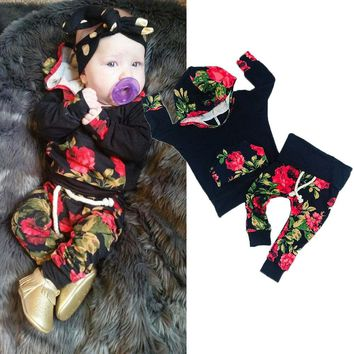 Toddler Newborn Baby Girl Hoodie Top+Long Pants Outfits 2PCS Floral Clothes Set