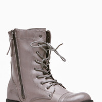 Bamboo Taupe Side Zipper Combat Boots