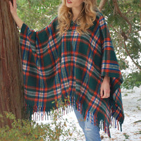 Vintage 70s PLAID Poncho Blanket Poncho FRINGE Cape with HOOD 70s Poncho