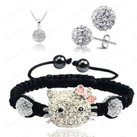 Hello Kitty Fashion Shamballa Sets Shamballa Bracelet & Earrings & Pendant