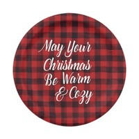 Red and Black Plaid Paper Plate