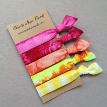 The Sunshine Tie Dye Hair Tie Collection - 5 Elastic Hair Ties by Elastic Hair Bandz on Etsy