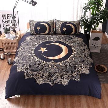 Moons and Stars Gold Mandala Duvet Cover Bedding Set