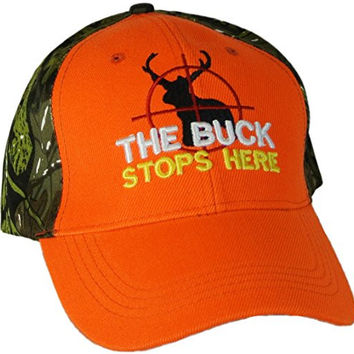 Mens Hunting Hat Baseball Cap with Deer in Sights THE BUCK STOPS HERE Green Camo with Orange