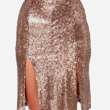 Gold Sequins Bodycon Mini Slit Skirt