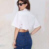 White Scissors Embroidered Cropped Polo