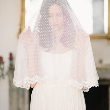 Swiss dot circle drop veil, bridal veil - lace trim