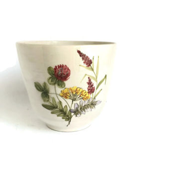 Ceramic Planter, Flower Pot Ulmer Keramik Made in West Germany, Kitchen Herb Garden, Pottery Cache Pot, Indoor Ceramic Planter Clover Lupin