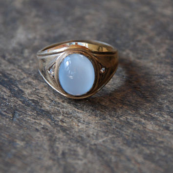 Vintage Clark and Coombs Ring Moonstone Glass Faux Diamond 10K Yellow Gold Filled Mens Ring Size 10 1960's // Vintage Designer Jewelry
