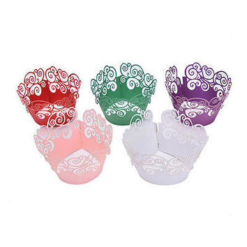 10pcs Pearly Cloud Filigree Vine Cupcake Wrappers Wrap Case Wedding Party DecoHU