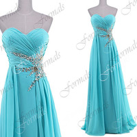 Strapless with Crystal Long Chiffon Blue Prom Dresses, Blue Evening Dresses, Wedding Party Dresses, Formal Gown, Evening Gown